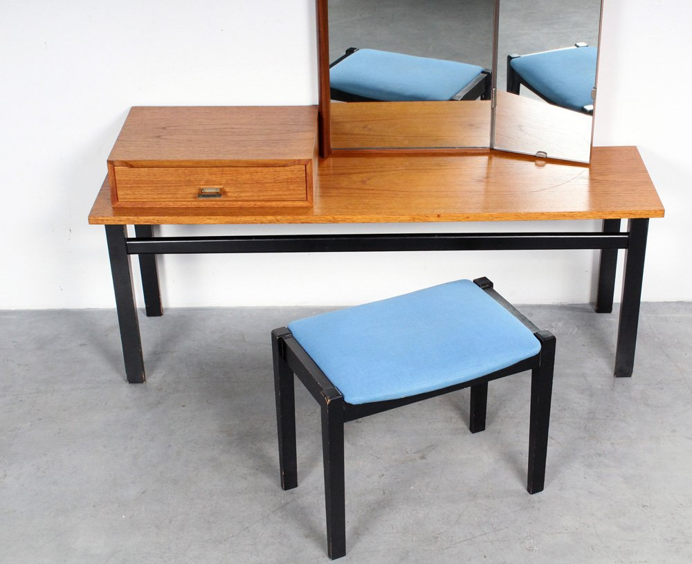 Vintage Dressing Table With Mirror And Stool
