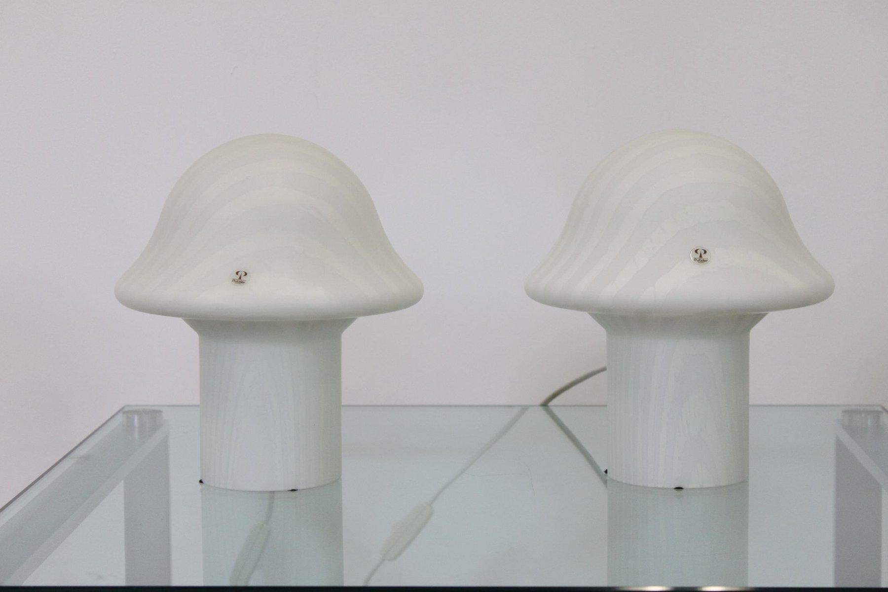 Mushroom Tischlampen von Peill Putzler, 1960er, 2er Set