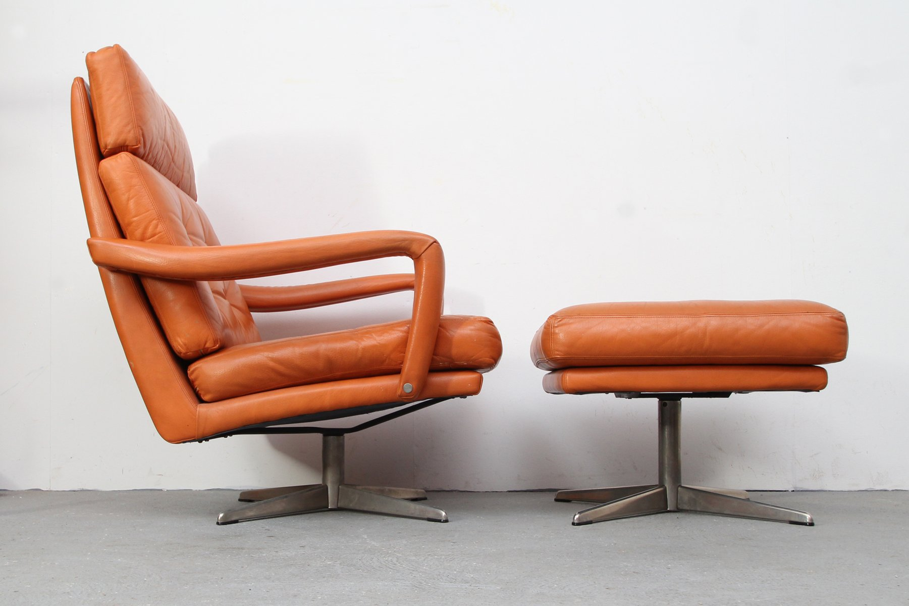 Cognac Leather Lounge Chair Amp Ottoman 1970s For Sale At