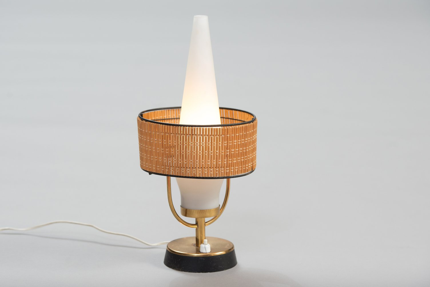 Vintage Italian Table Lamp With Frosted Glass Shade For Sale At Pamono