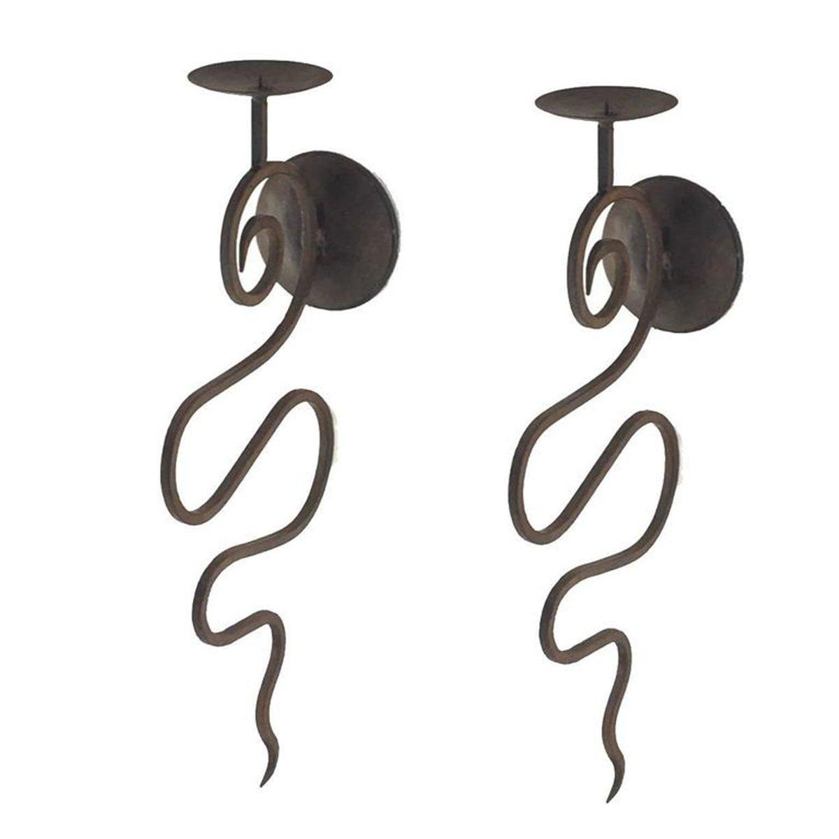 Kerzenhalter aus Schmiedeeisen, 1950er, 2er Set