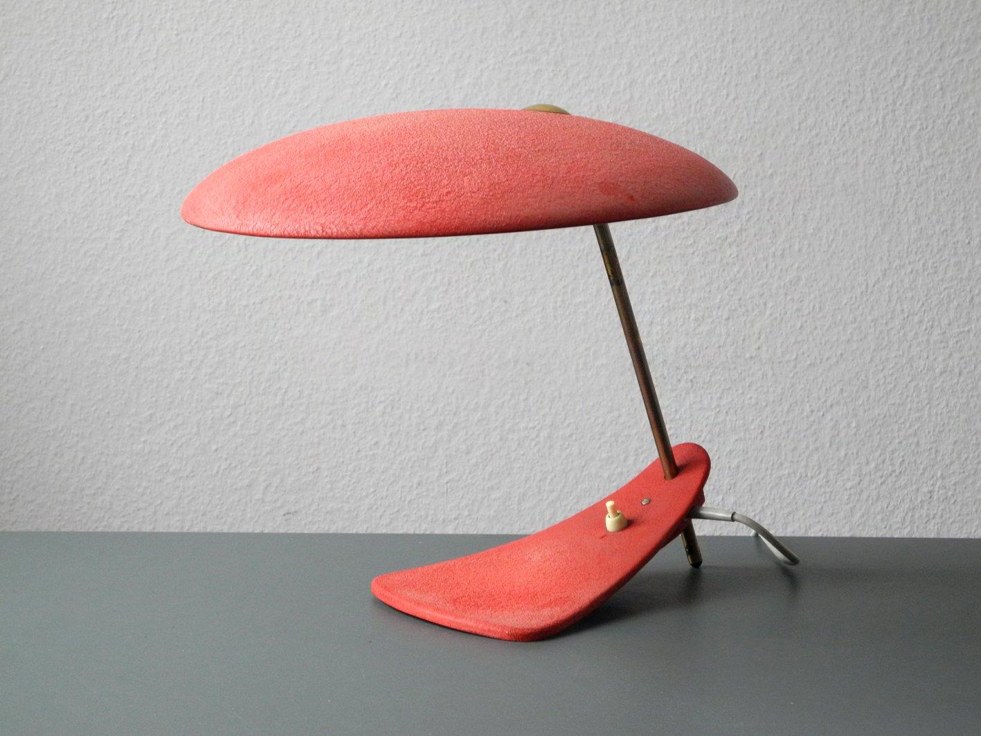 Rot Lackierte Moderne Italienische Mid-Century Tischlampe