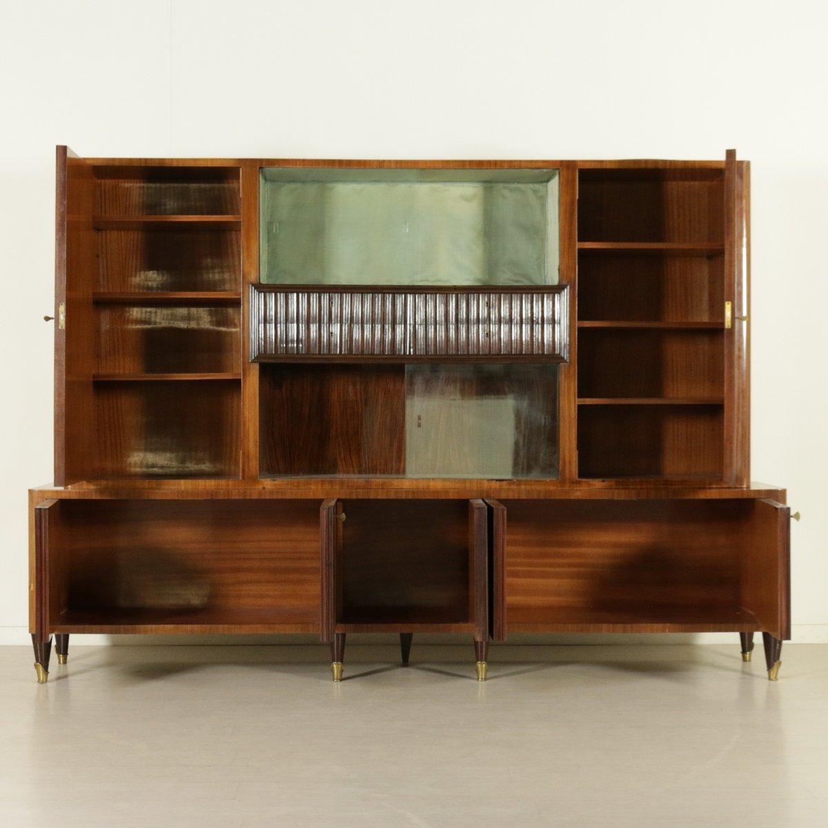 Mueble italiano de vidrio chapa de caoba y lat n a os 50 en venta en pamono - Mueble anos 50 ...