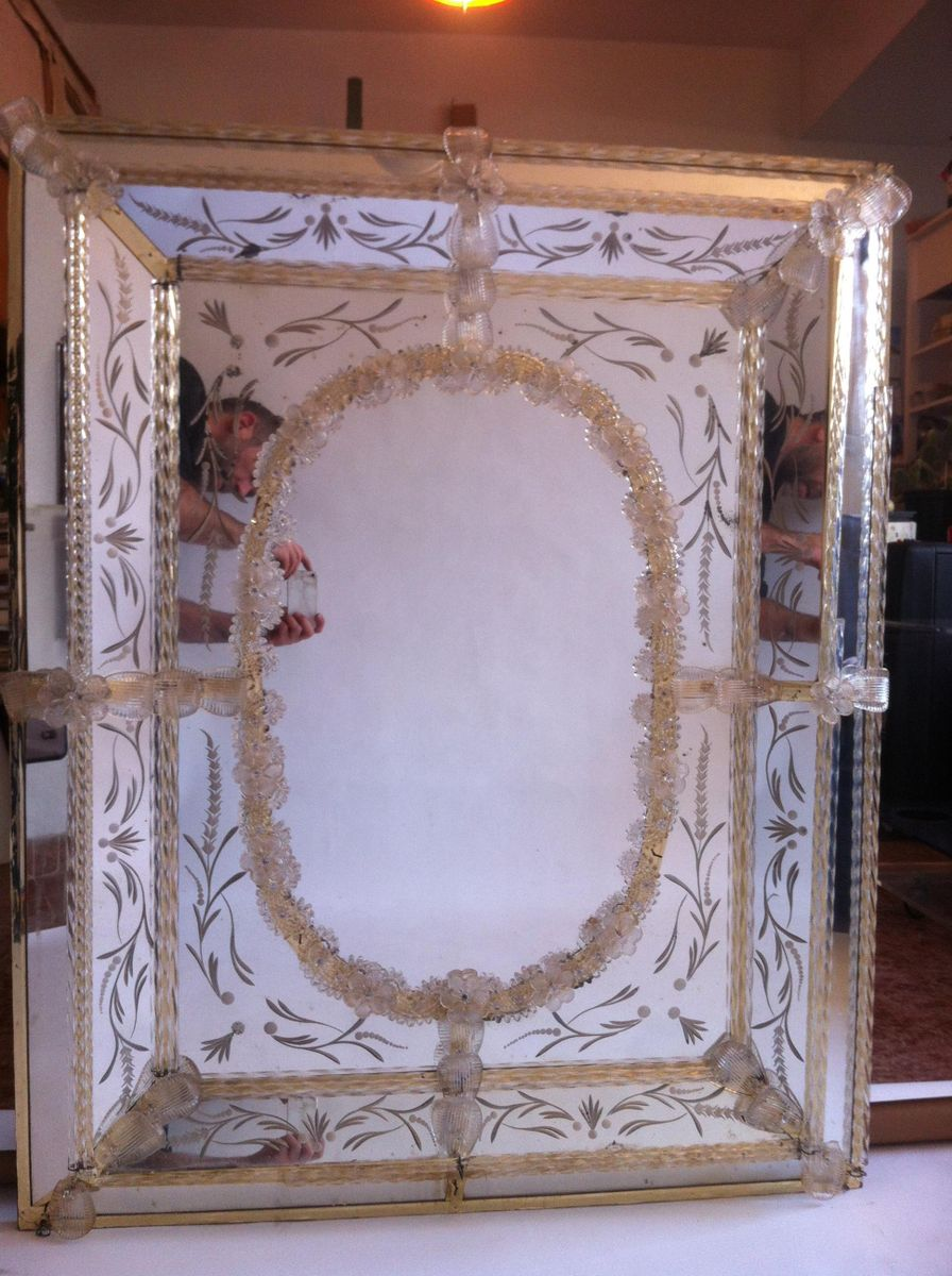 miroir v nitien vintage en verre murano en vente sur pamono. Black Bedroom Furniture Sets. Home Design Ideas