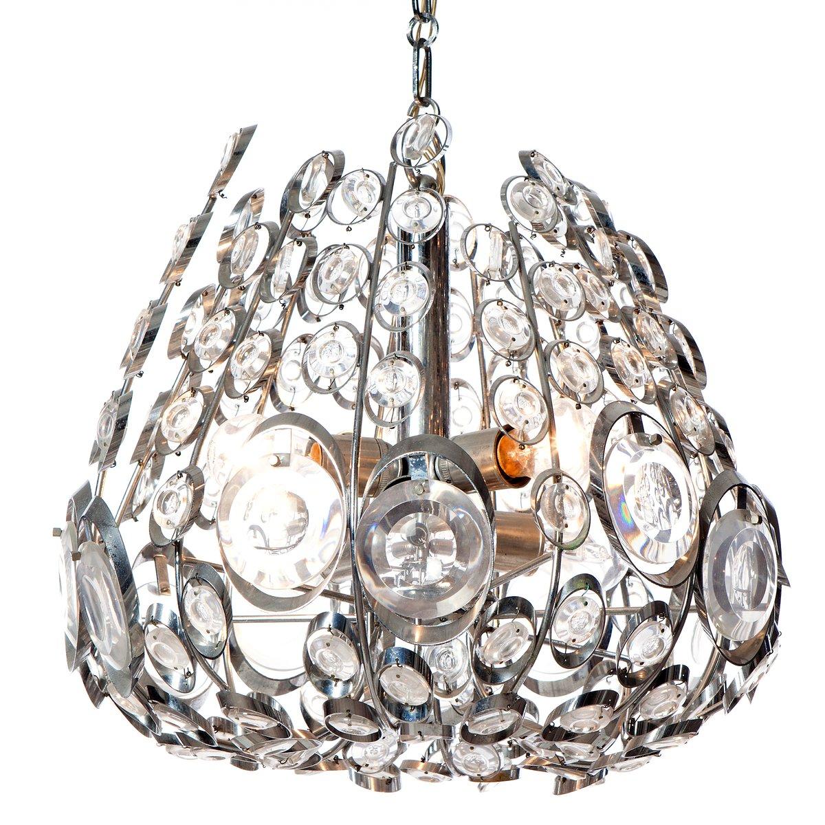 Vintage Kronleuchter aus Verchromtem Stahl & Glas mit Sechs Leuchten v...