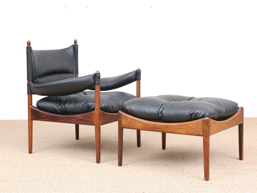 Mid-Century Danish Modern Lounge Sessel mit Fußhocker von Kristian Ved...