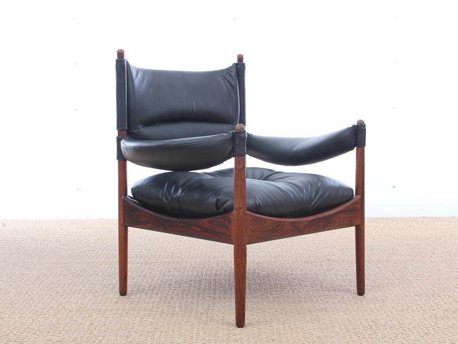 mid century danish modern lounge sessel mit fu hocker von. Black Bedroom Furniture Sets. Home Design Ideas