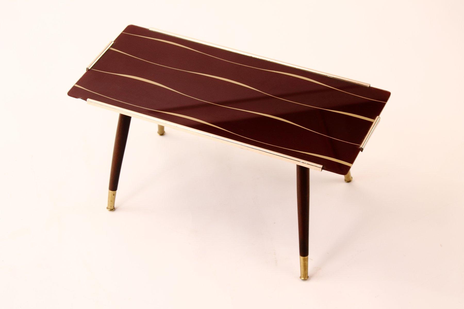 beistelltisch mit bedruckter glasplatte 1950er bei pamono kaufen. Black Bedroom Furniture Sets. Home Design Ideas