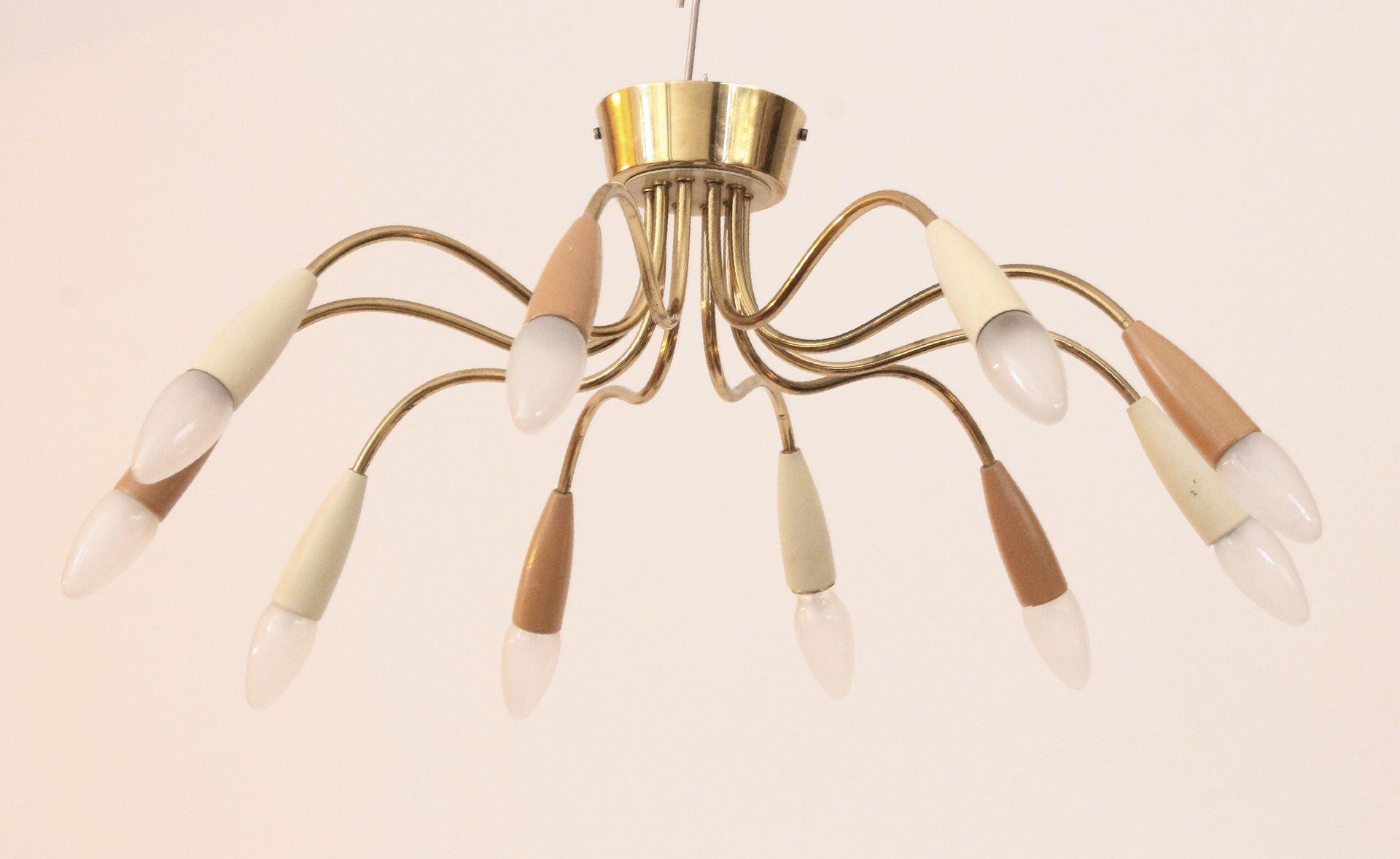 Deutsche Mid-Century Sputnik Lampe aus Messing