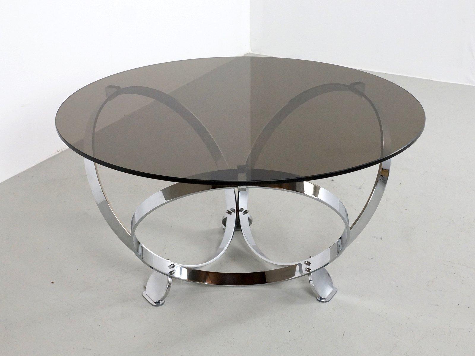 runder chrom und glas couchtisch von knut hesterberg 1970er bei pamono kaufen. Black Bedroom Furniture Sets. Home Design Ideas