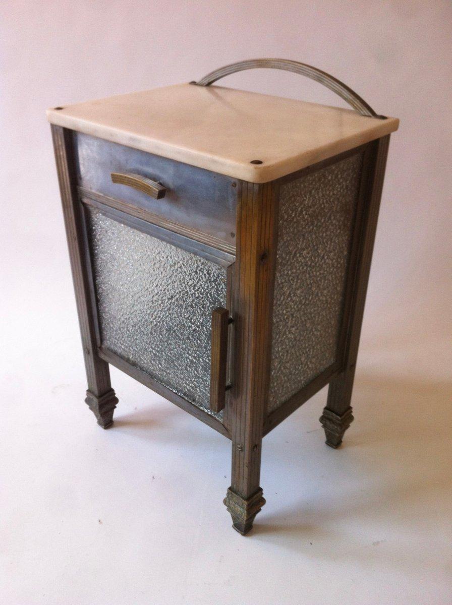 table d 39 appoint art d co en laiton nickel marbre et verre espagne 1930s en vente sur pamono. Black Bedroom Furniture Sets. Home Design Ideas