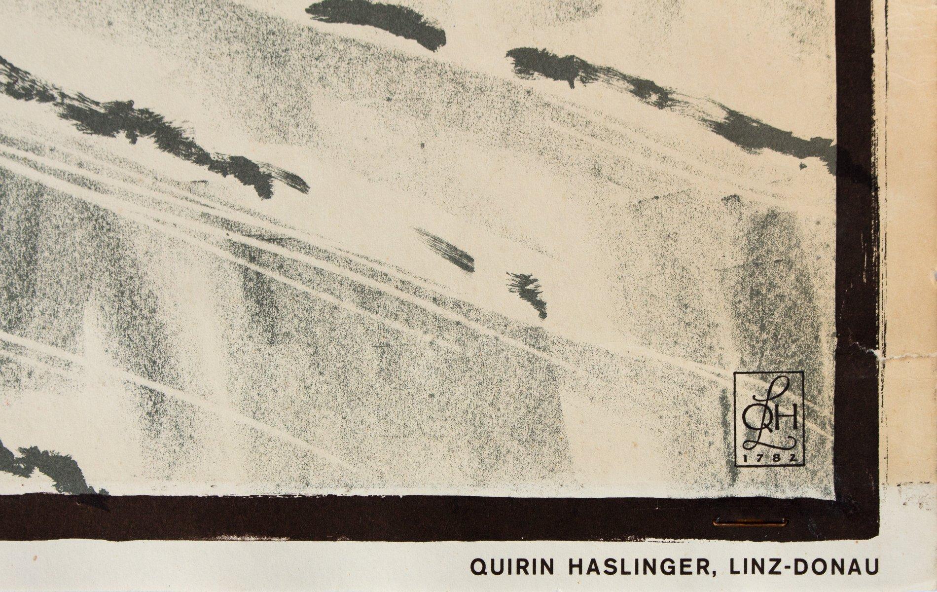 poster mit vier comic bildern von quirin haslinger 1953 bei pamono kaufen. Black Bedroom Furniture Sets. Home Design Ideas
