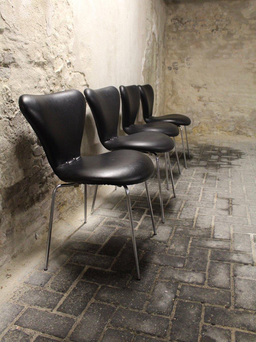 modell 3107 butterfly st hle von arne jacobsen f r fritz hansen 1960er 4er set bei pamono kaufen. Black Bedroom Furniture Sets. Home Design Ideas