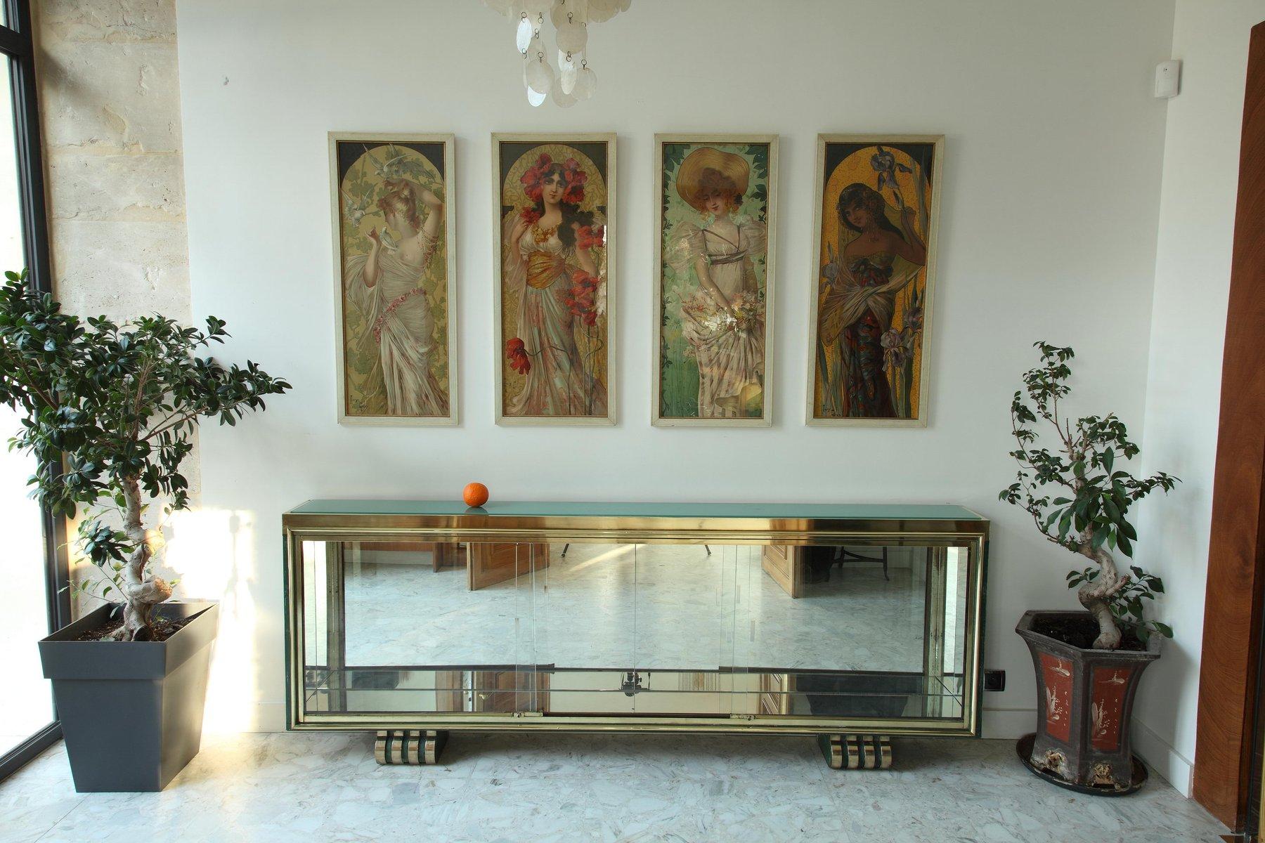 Art Deco Vitrine und Konsole aus Vergoldeter und Patinierter Bronze, 1...
