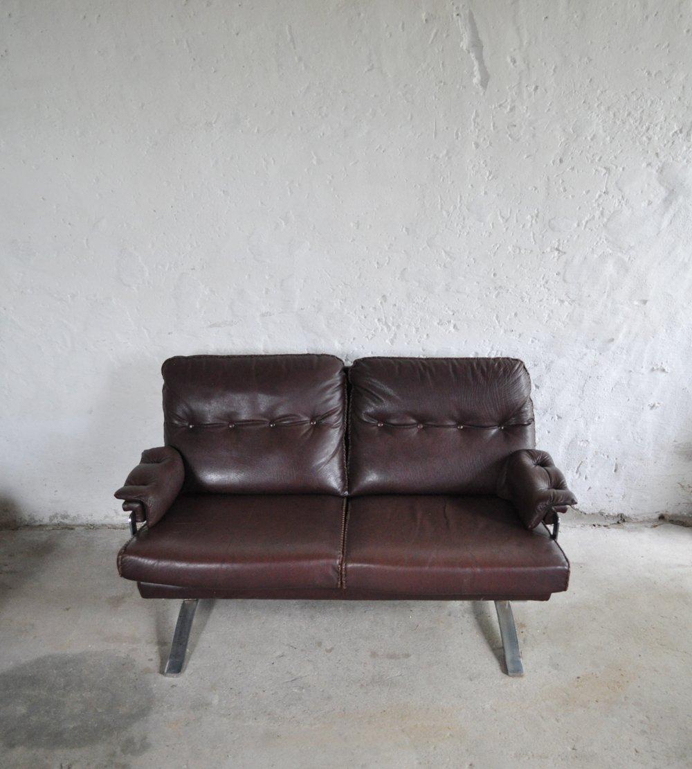 vintage sofa aus chrom leder von arne norell f r vatne m bler bei pamono kaufen. Black Bedroom Furniture Sets. Home Design Ideas