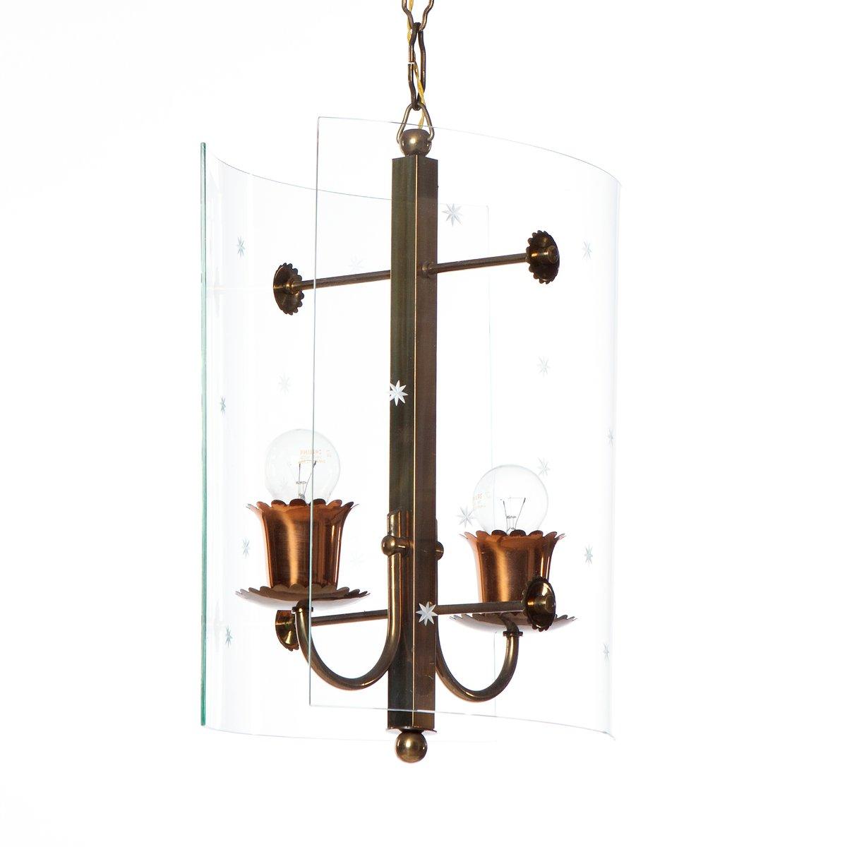 Vintage Hängeleuchte mit Zwei Lichtern aus Glas und Messing von Fontan...