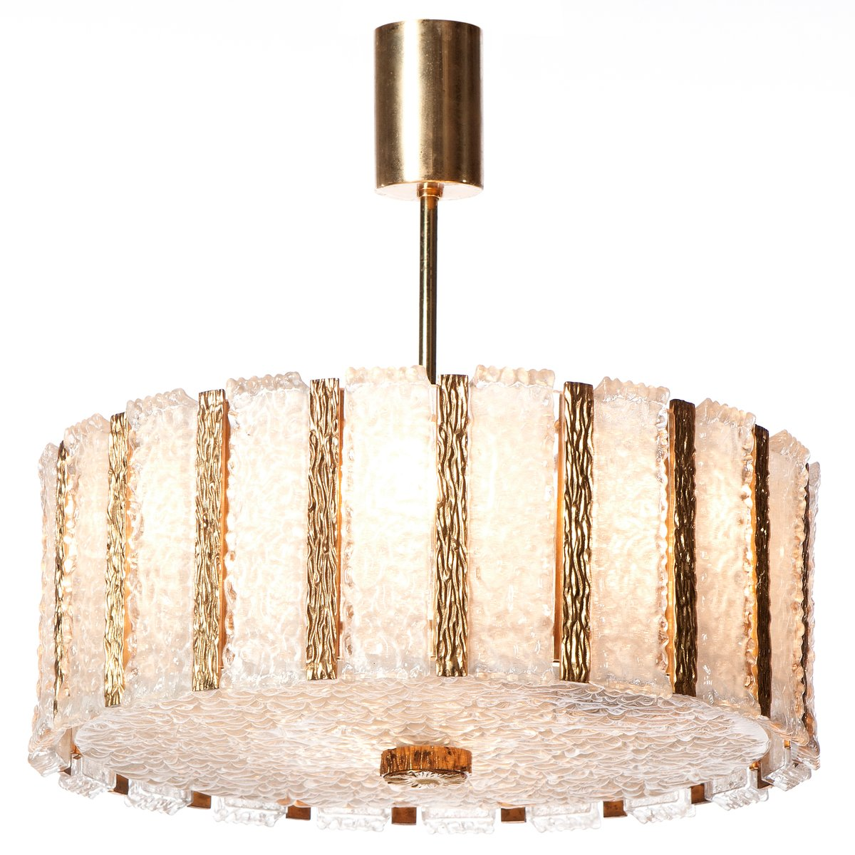 Vergoldeter Mid-Century Kronleuchter mit Neun Leuchten aus Messing & O...