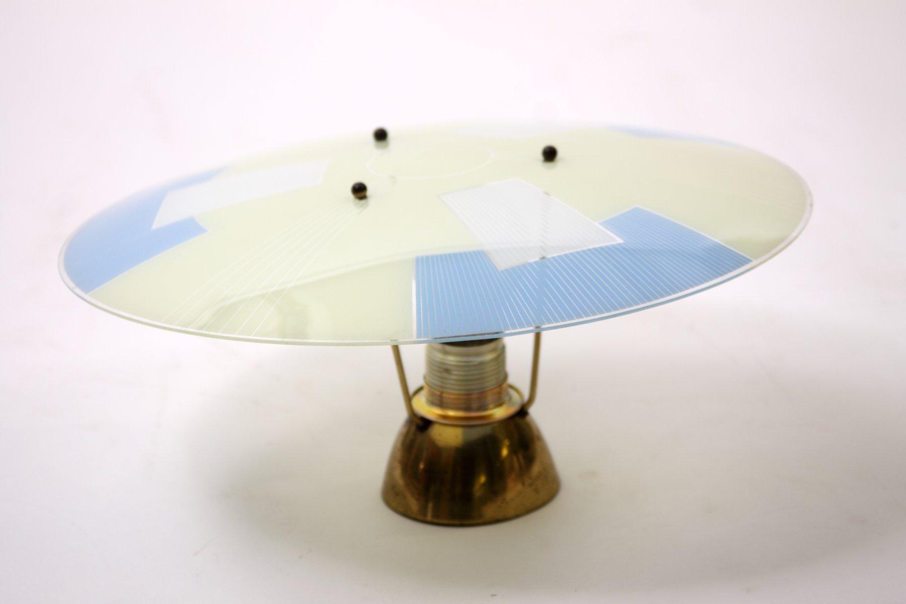Vintage Deckenlampe mit TV Testbild Motiv, 1960er