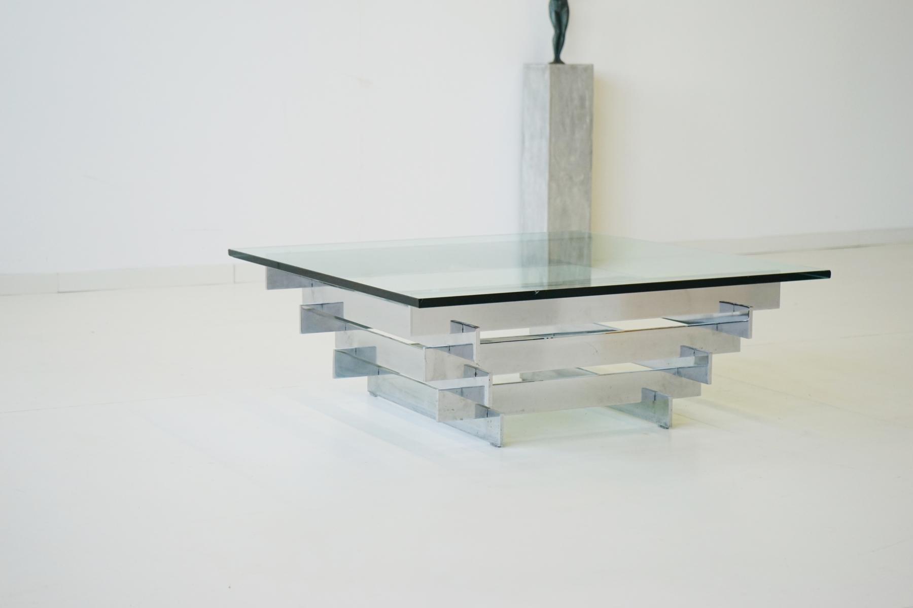 Beau Vintage Glass U0026 Chrome Coffee Table By Zaruch