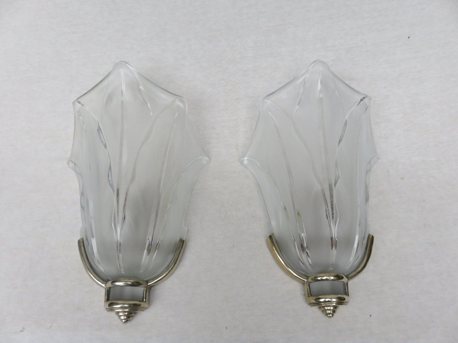 Französische Art Deco Wandlampen von Ezan, 2er Set