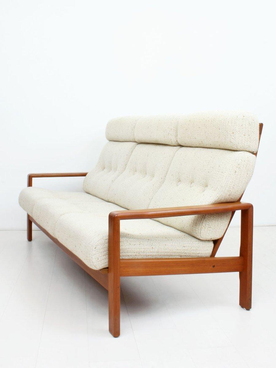 canap trois places en teck avec tapisserie en laine 1960s en vente sur pamono. Black Bedroom Furniture Sets. Home Design Ideas
