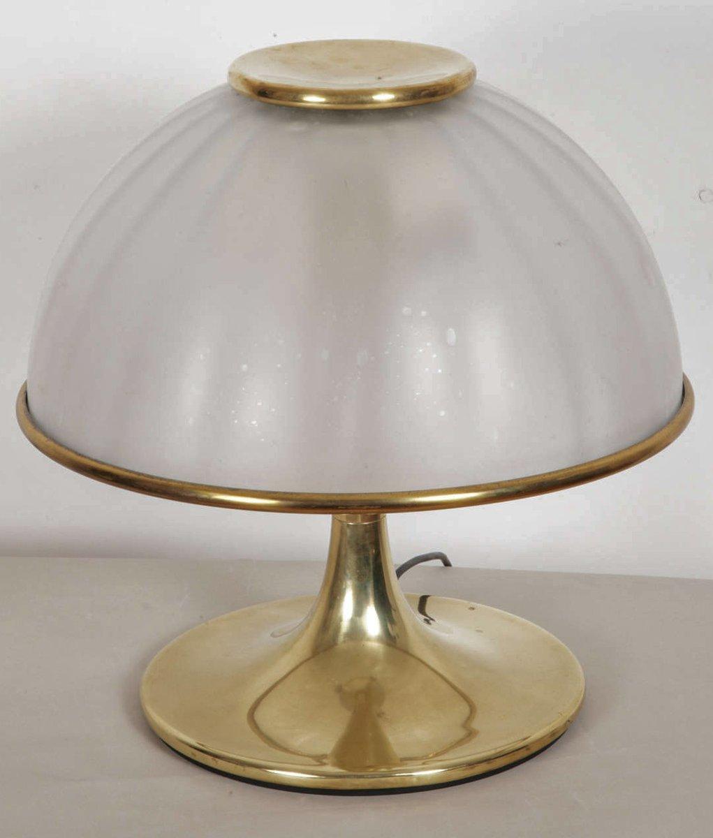 Italienische Tischlampe aus Vergoldetem Messing & Glas, 1970er