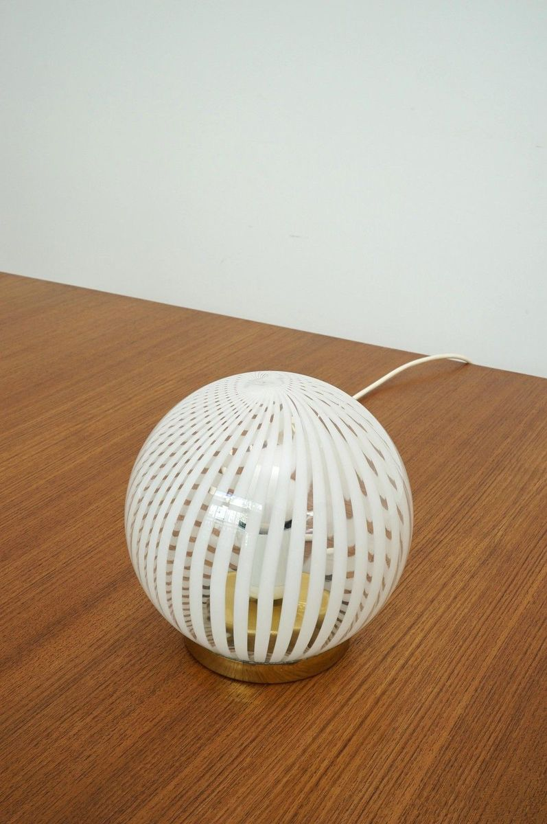 Murano Glas & Messing Tischlampe, 1970er