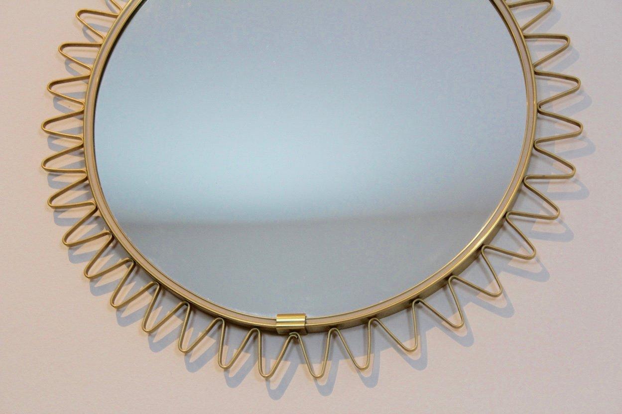 Specchio mid century con cornice a forma di sole in ottone in vendita su pamono - Specchio a forma di sole ...