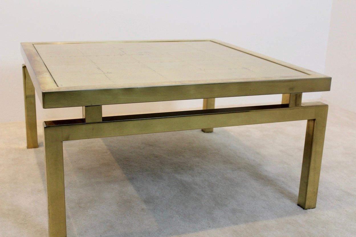 gold ge tzter glas couchtisch 1970er bei pamono kaufen. Black Bedroom Furniture Sets. Home Design Ideas