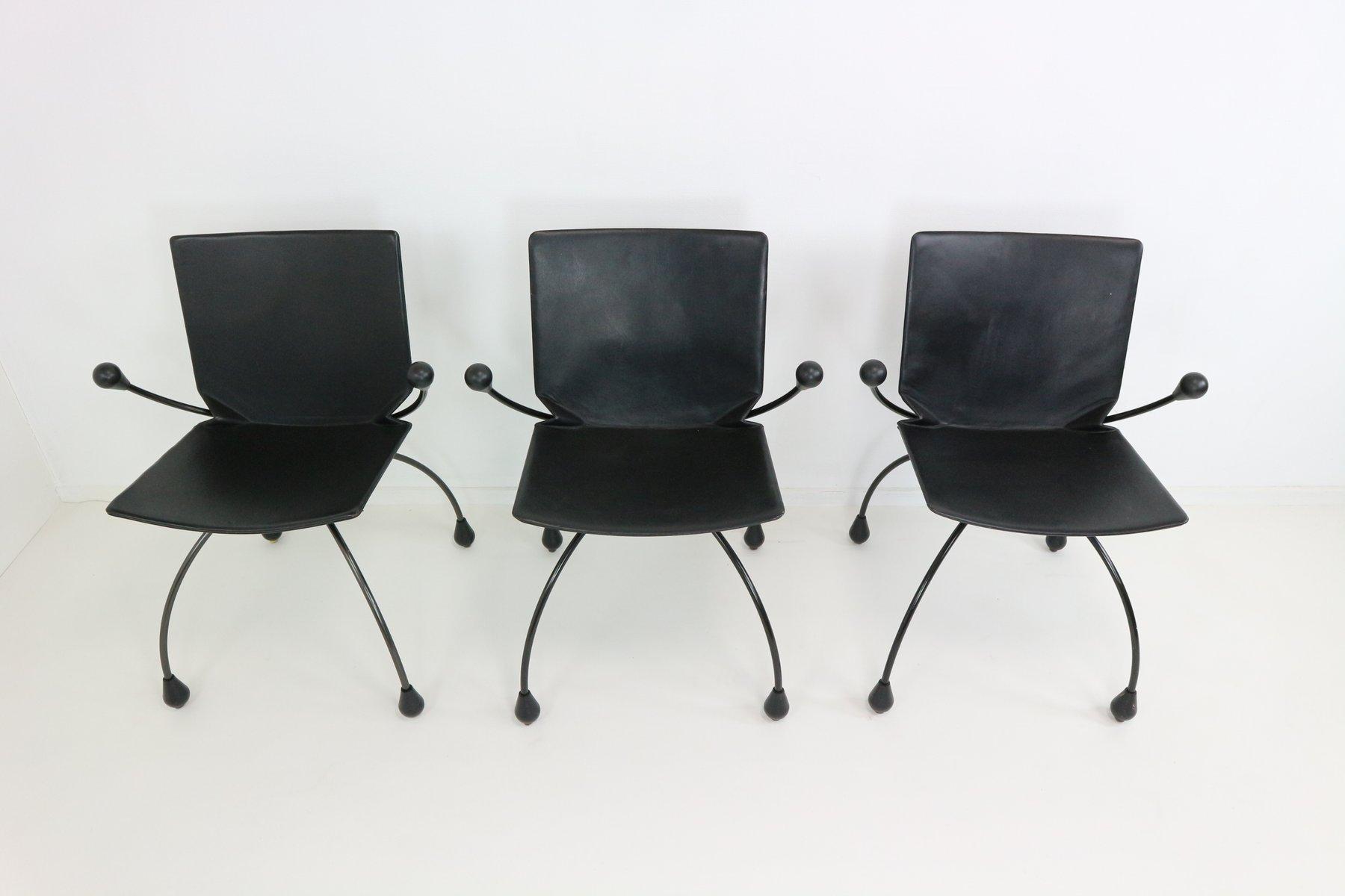 chaise de salle manger en cuir noir 1980s en vente sur pamono. Black Bedroom Furniture Sets. Home Design Ideas
