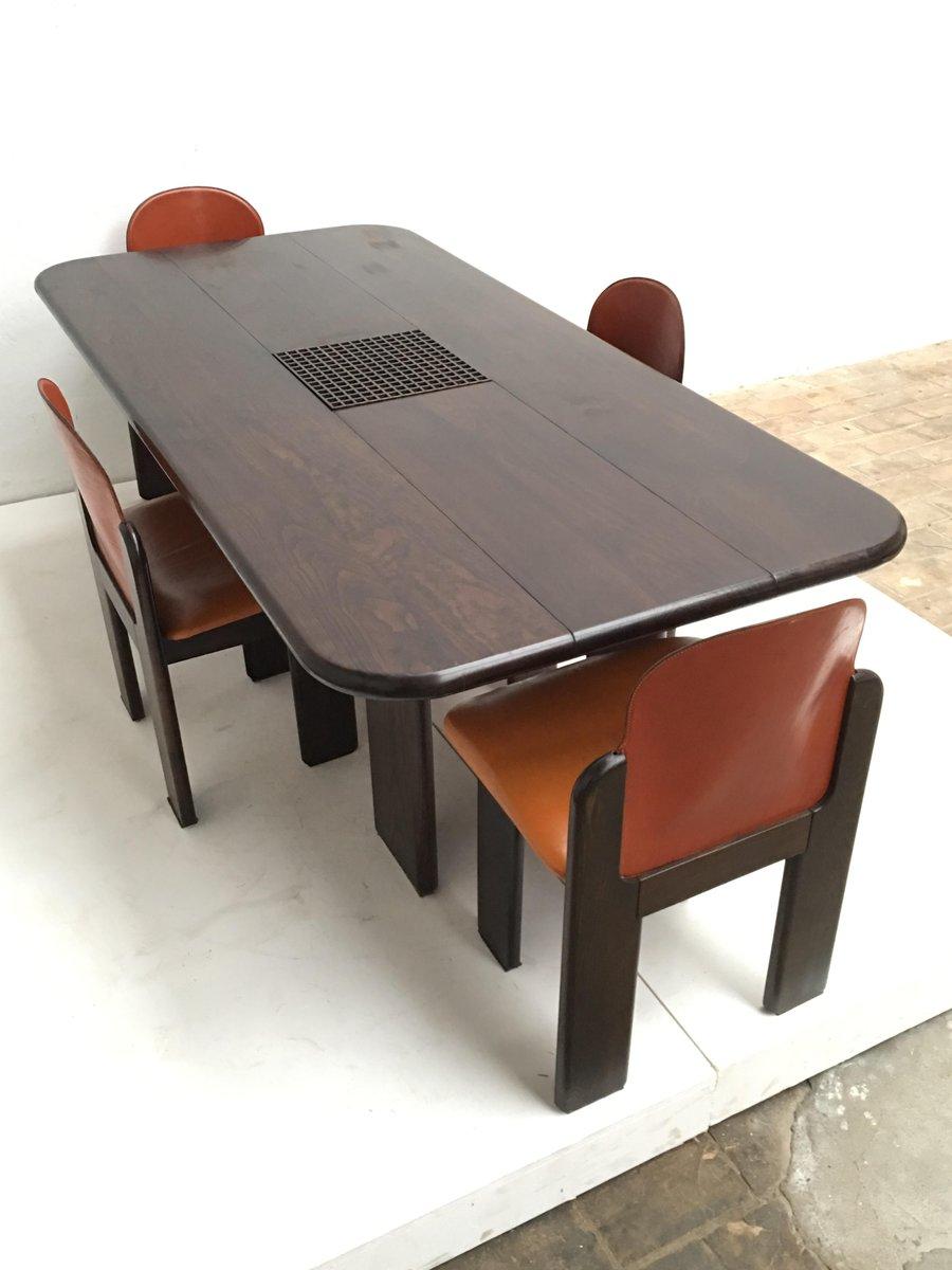 Set de salon en bois massif et en cuir 1970s en vente sur pamono - Salon en bois massif ...