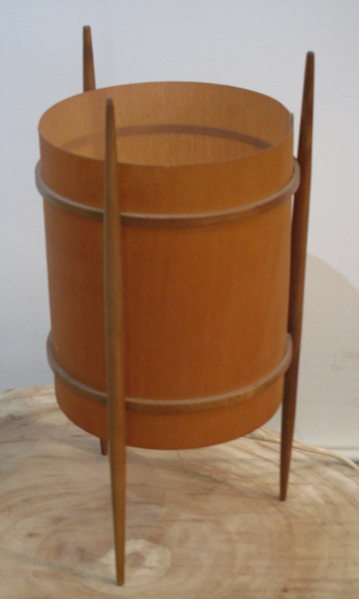 Tischlampe mit Dreibein und Holz Furnier, 1960er