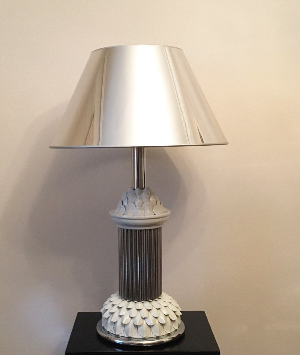 Italienische Mid-Century Tischlampe aus Chrom & Keramik