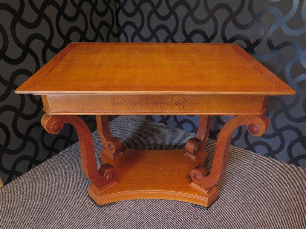 Veneered Coffee Table In Cherry Wood, 1900s