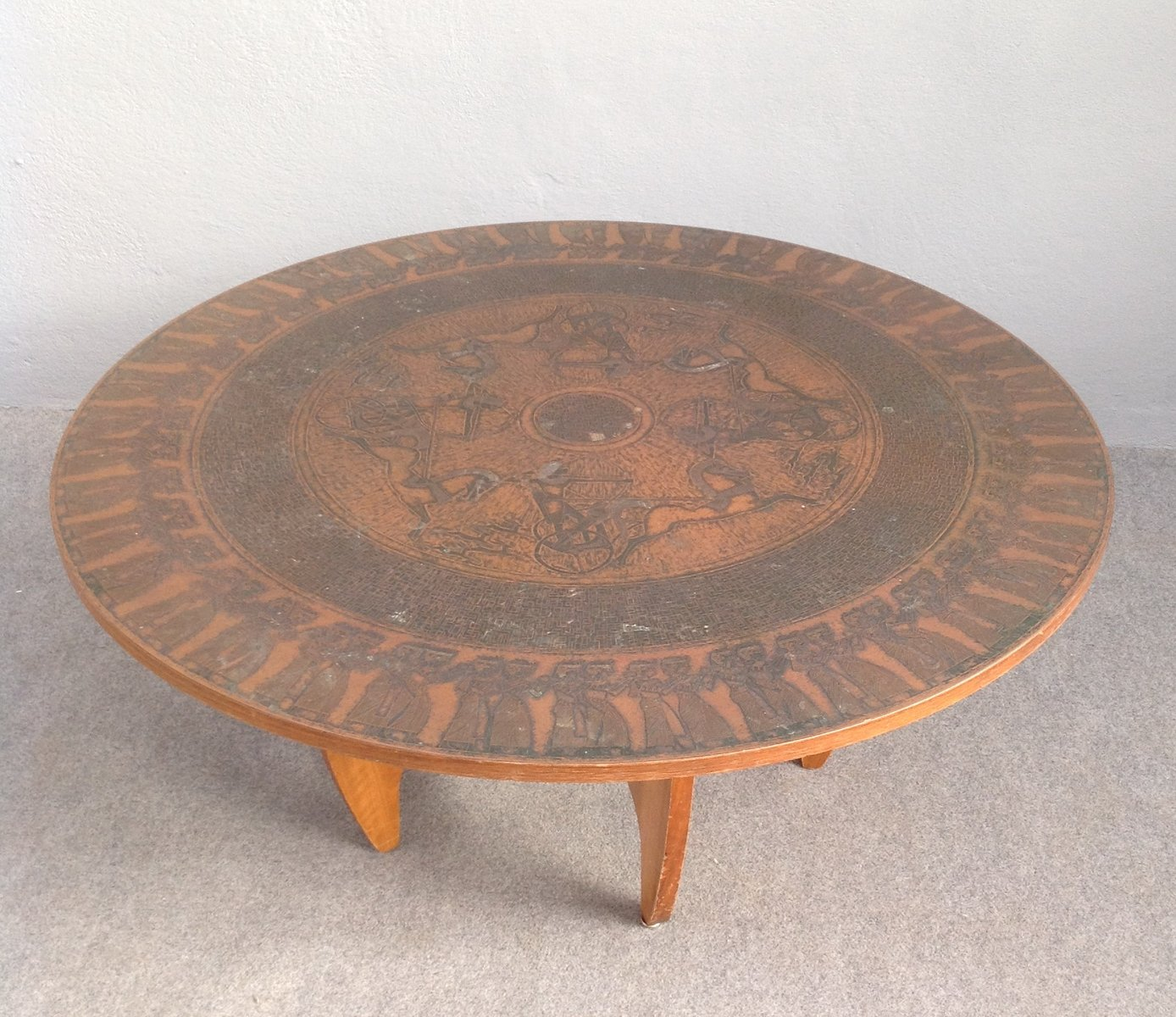 Round Copper Top Coffee Table 1960s For Sale At Pamono