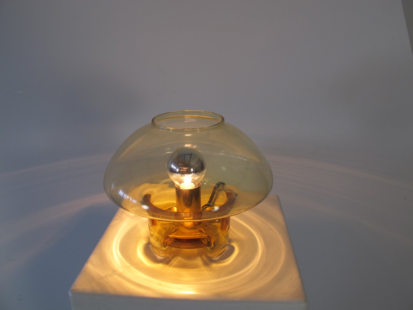 Vintage Glass Mushroom Shaped Table Lamp From Raak 1970s