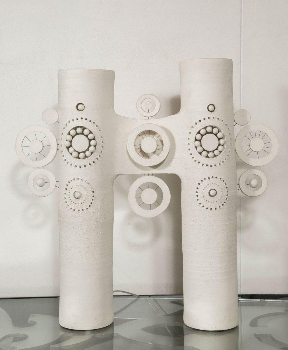 Keramik Tischlampe mit Zwei Leuchten von Georges Pelletier, 1970er