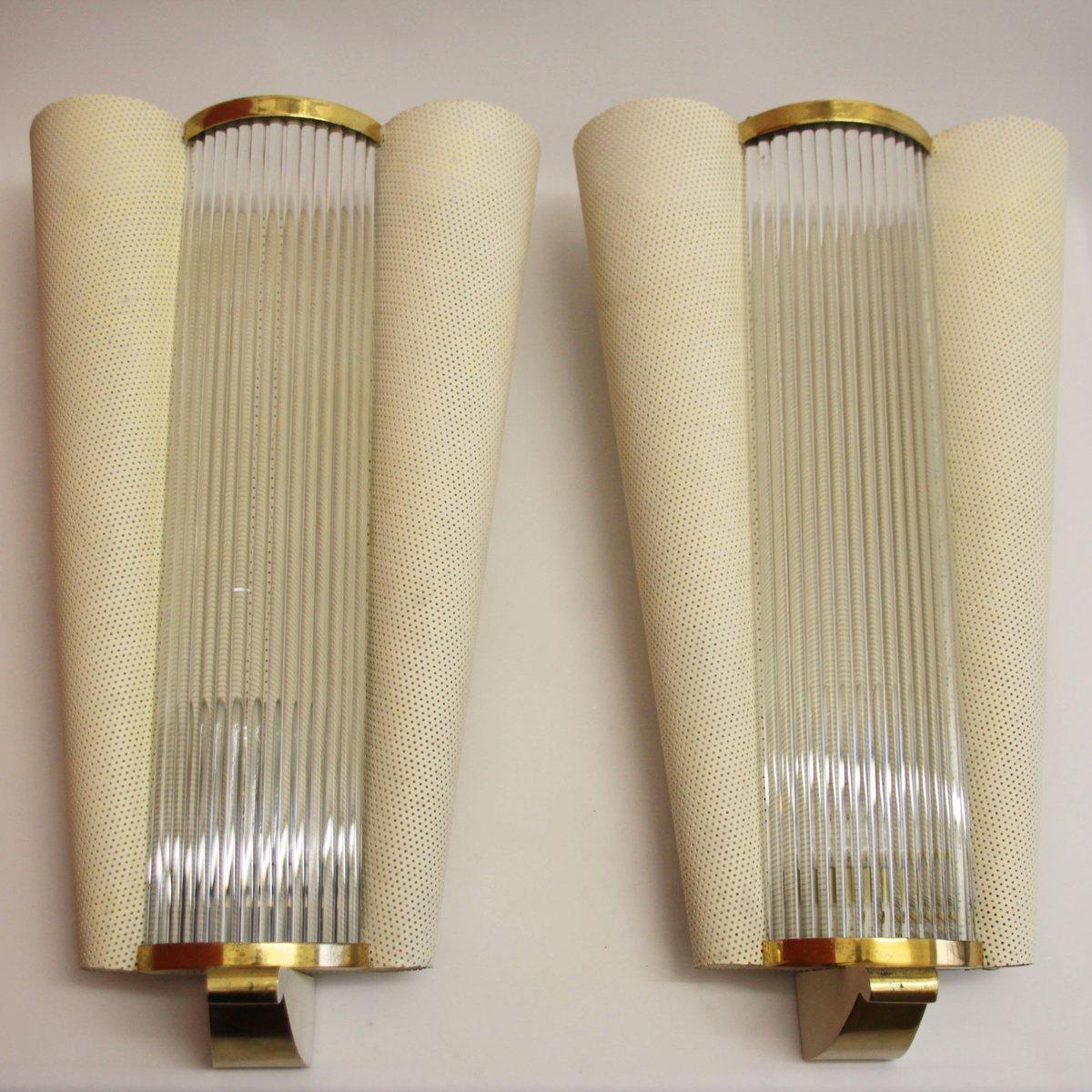 Französische Mid-Century Wandlampen mit Glasstäben von Petitot, 1950er...