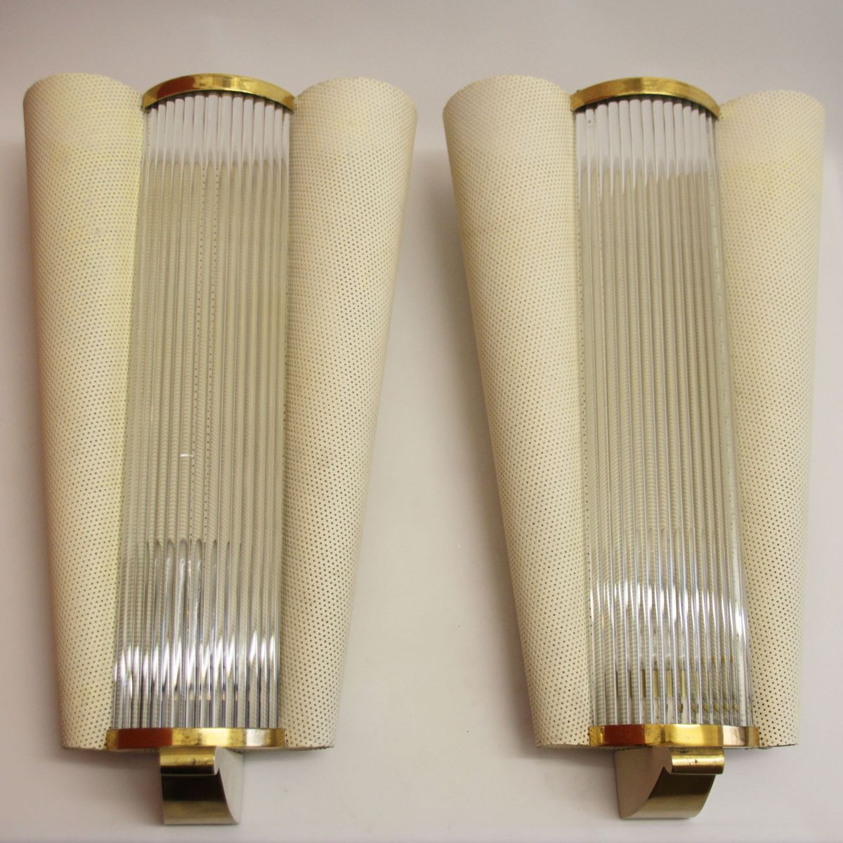 French mid century wall sconces with glass rods from petitot 1950s set of 2