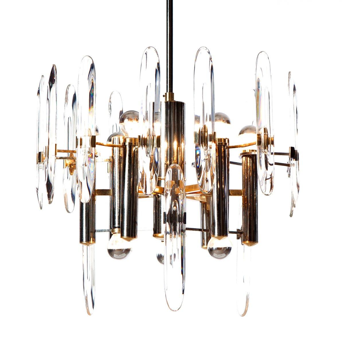 Kronleuchter aus Chrom, Messing & Kristallglas mit 9 Leuchten von Gaet...