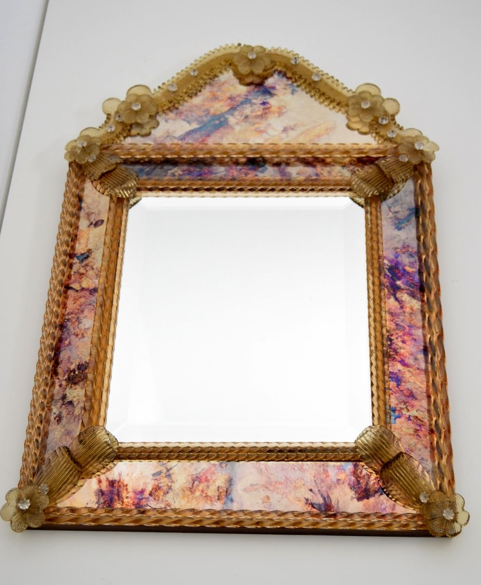 decorative venetian glass mirror 1970s for sale at pamono. Black Bedroom Furniture Sets. Home Design Ideas
