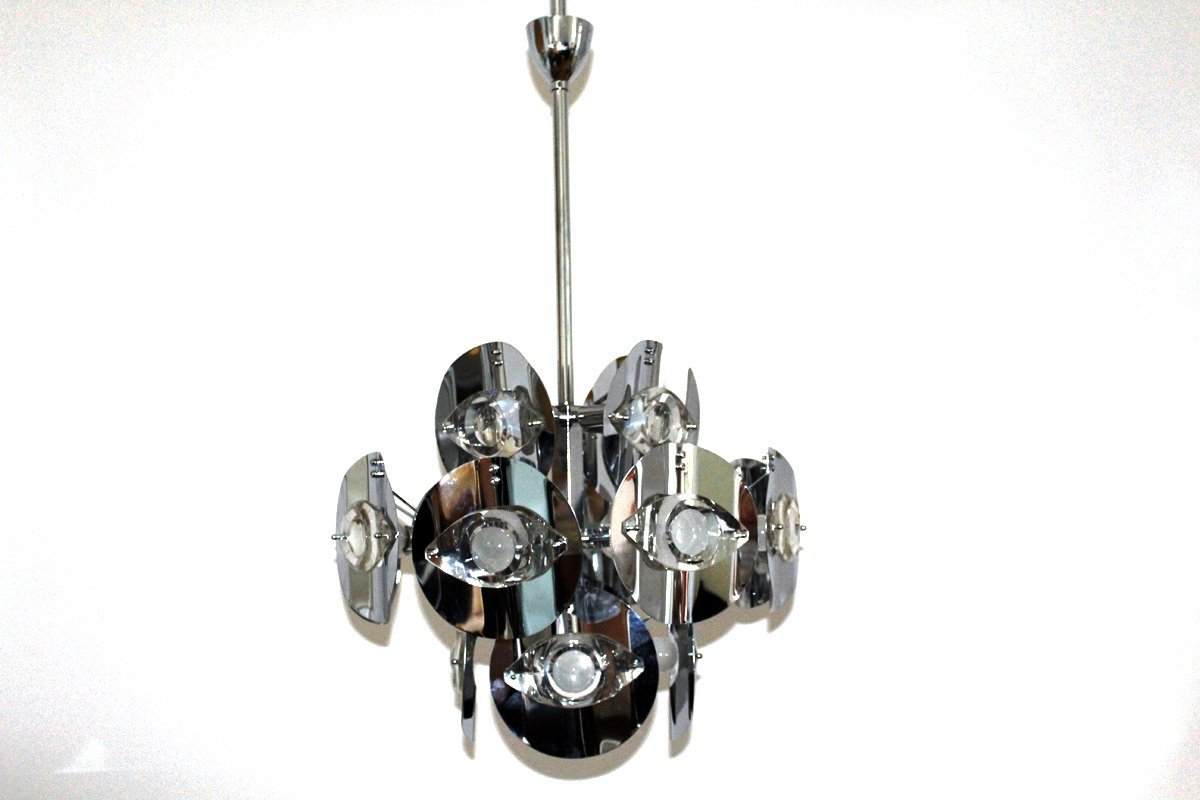 lustre en laiton chrom par gaetano sciolari 1960 en vente sur pamono. Black Bedroom Furniture Sets. Home Design Ideas