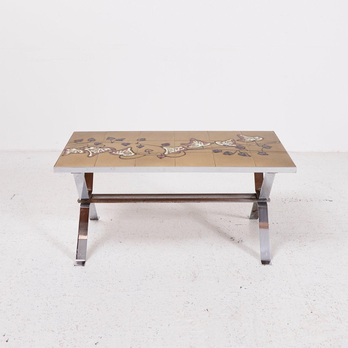 table basse vintage avec plateau mosa que en vente sur pamono. Black Bedroom Furniture Sets. Home Design Ideas