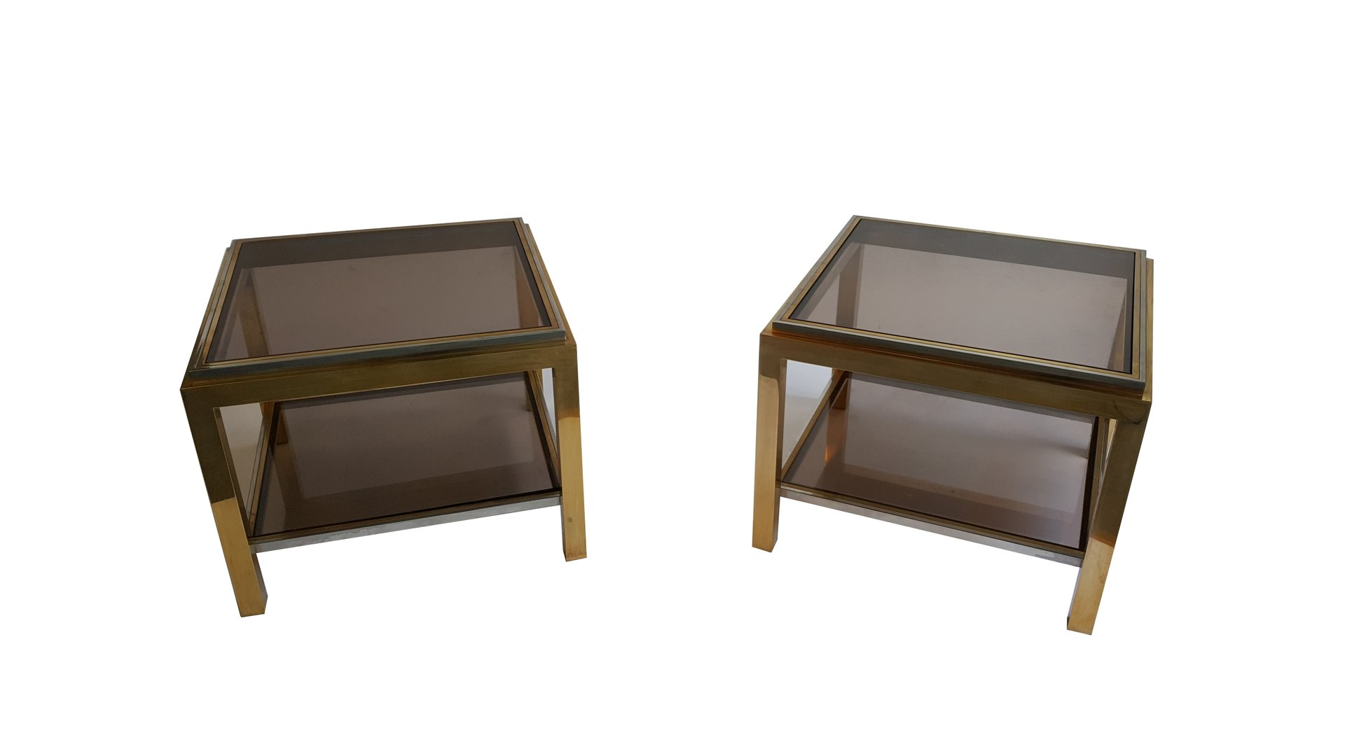 Brass And Smoked Glass Coffee Tables By Jean Charles Set Of 2