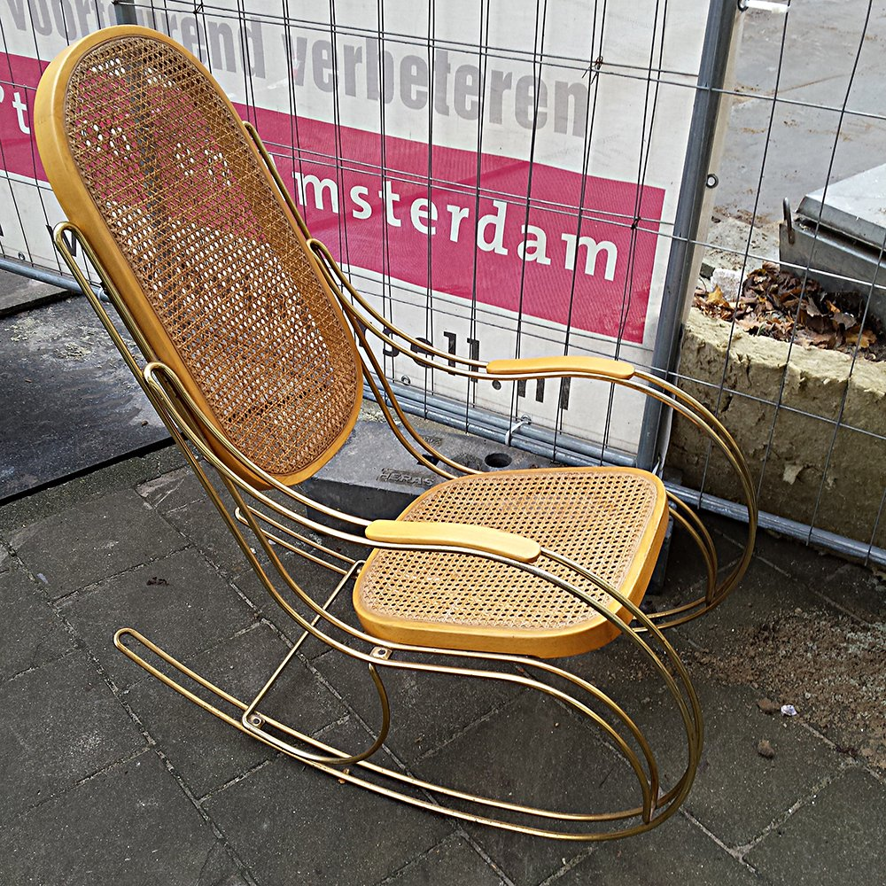 Vintage Gilt Metal Amp Cane Rocking Chair For Sale At Pamono