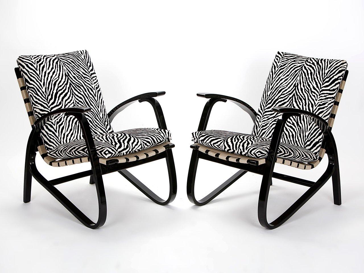 Vintage Zebradruck Sessel von Jan Vanek, 1935, 2er Set