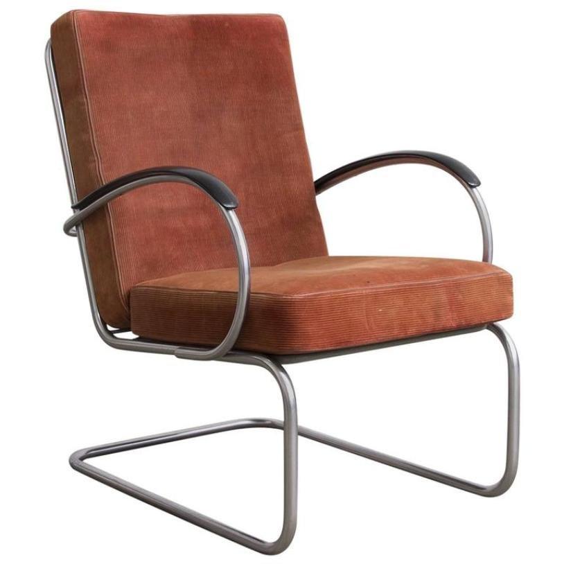 Modell 409 Terrakotta Sessel von W.H. Gispen für Gispen Culemborg, 196...