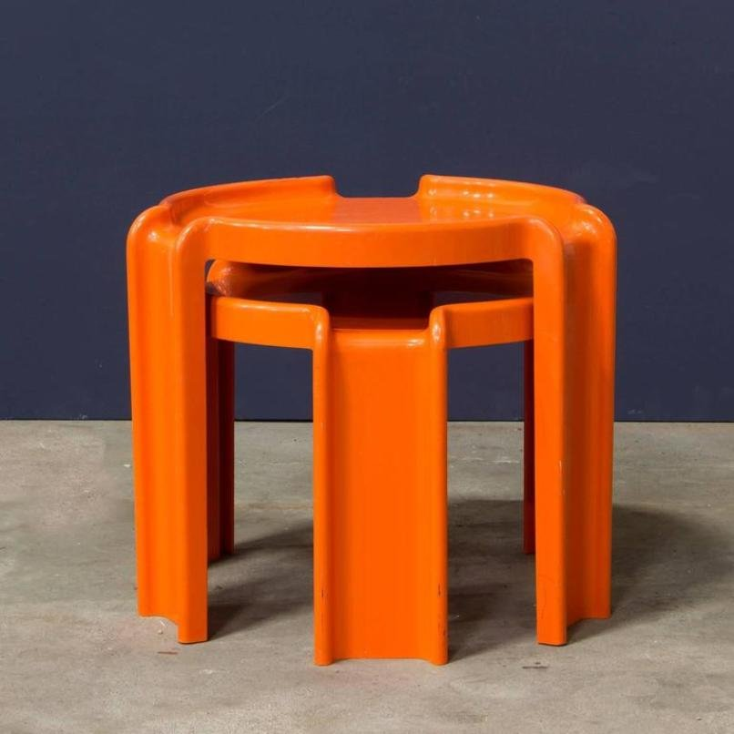 Orange Plastic Nesting Tables By Giotto Stoppino For