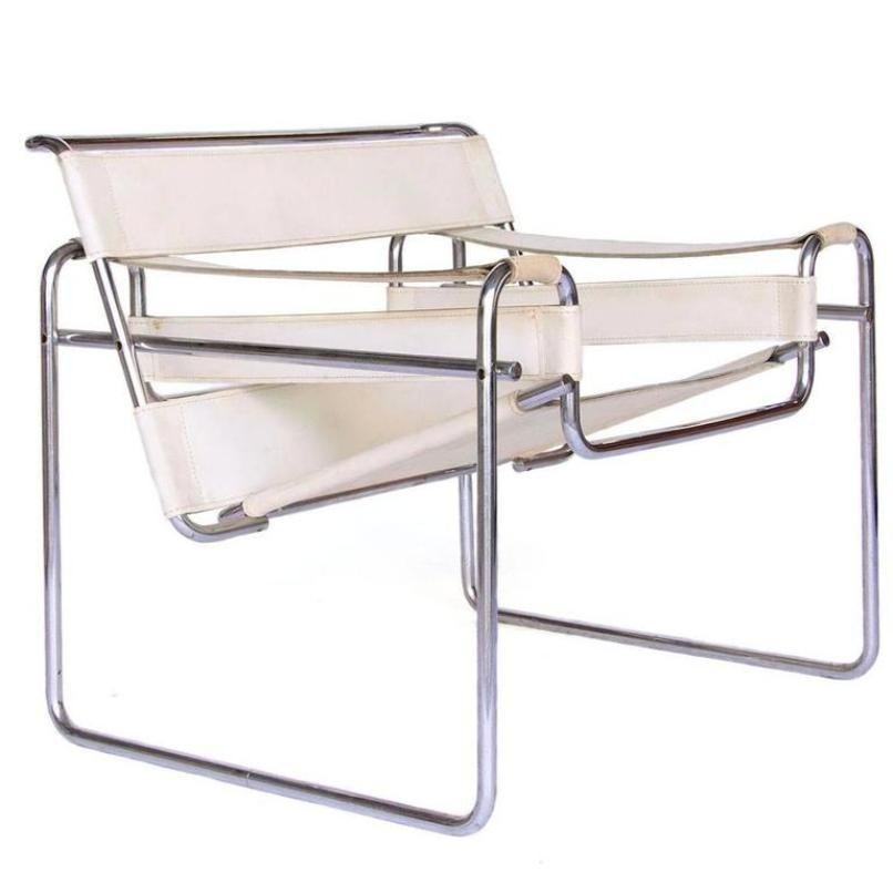 vintage white leather wassily chair by marcel breuer for. Black Bedroom Furniture Sets. Home Design Ideas