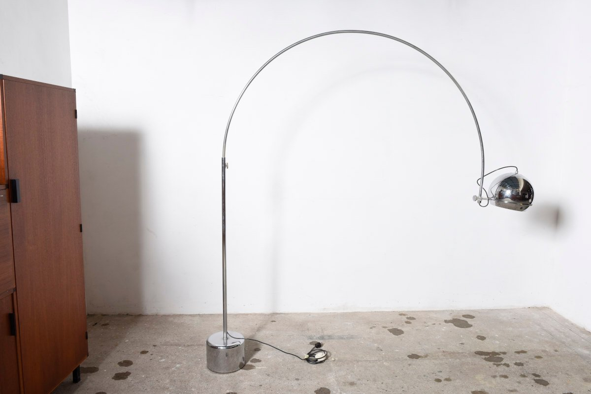 Mid Century Chromed Metal Arc Floor Lamp From Gepo 1960s For Sale